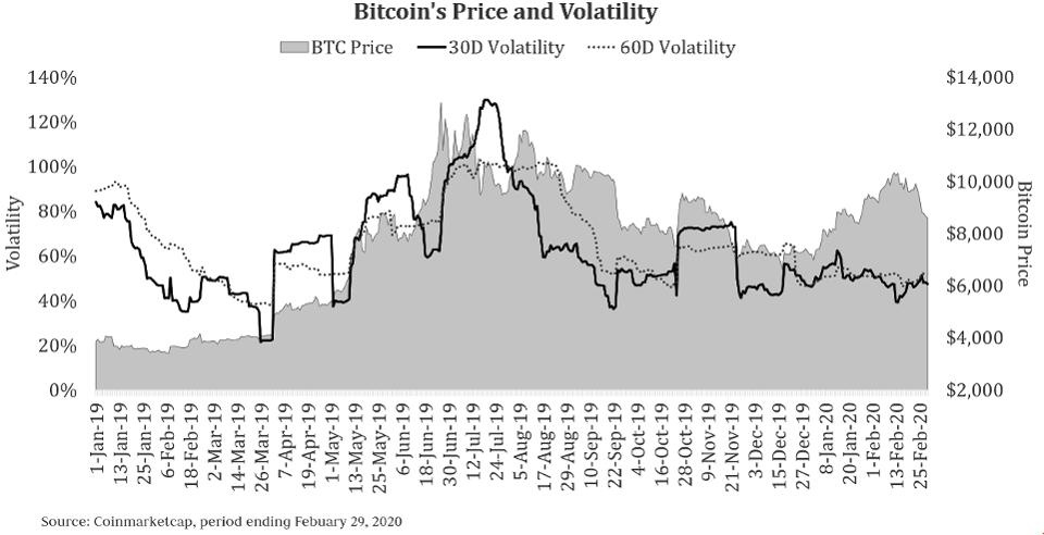 This chart shows the volatility of bitcoin, the world's most prominent digital currency.